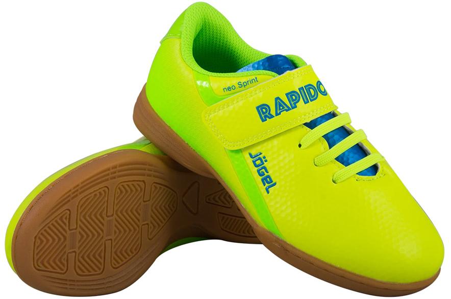Бутсы для футзала детские Jogel Rapido, цвет: лимонный. JSH4001-K. Размер 32УТ-00010554Зальные бутсы Jogel Rapido Kids из линейки neo.Sprint предназначены для игры в зале и других ровных поверхностях, а также подходят для повседневной носки. Данная модель выполнена в минималистичном дизайне с использованием ярких цветовых решений.Анатомически правильная колодка обеспечивает удобное положение стопы. Прошивка в носочной части придает дополнительную надежность конструкции ботинка. Съемная анатомическая стелька изготовлена из вспененного материала ЭВА, который обеспечивает дополнительную амортизация и уменьшает нагрузку на опорно-двигательный аппарат ребенка. В данной модели применена удобная липучка и не требующие завязки резиновые шнурки, которые позволяют быстро и надежно затянуть обувь по ноге и не тратить время на шнуровку. Подошва обуви выполнена по технологии Non-marking, что обеспечивает безупречное сцепление с гладкими полированными поверхностями и не оставляет следов на паркете.В производстве обуви Jogel используются только качественные гипоаллергенные материалы, обувь легко моется и не требует дополнительного ухода.