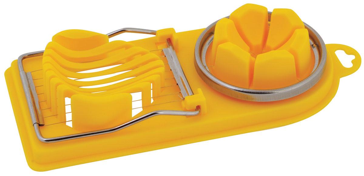 Яйцерезка Regent Inox Presto, универсальная, цвет: желтый93-ac-sl-03Изысканный стиль и эргономичность яйцерезки Regent Inox Presto прекраснодополнят интерьер любой кухни. С помощью яйцерезки Regent Inox Presto вы безтруда сможете измельчить яйцо. Хорошо натянутые проволочки из стали легконарезают яйцо на кусочки равной толщины. Положите очищенное яйцо, легконажмите на крышку с тонкими стальными струнами и аккуратно разрезанныеломтики готовы для украшения изысканных блюд на фуршете или для салата.