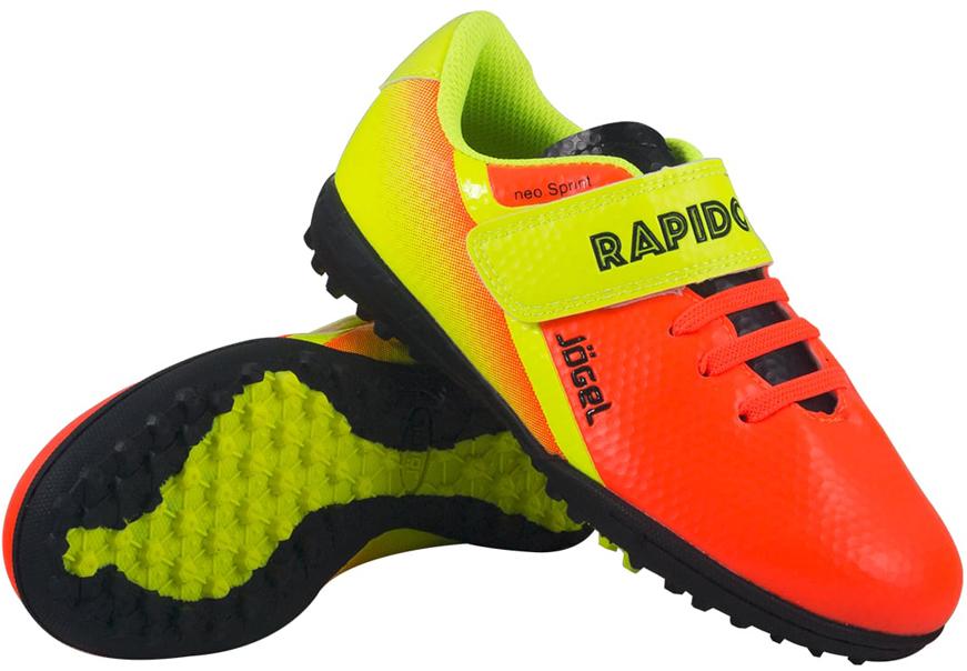 """Многошиповые бутсы """"Rapido Kids"""" из линейки neo.Sprint предназначены для игры на искусственных и неровных покрытиях. Данная модель выполнена в минималистичном дизайне с использованием ярких цветовых решений.Анатомически правильная колодка обеспечивает удобное положение стопы. Прошивка в носочной части придает дополнительную надежность конструкции ботинка. Съемная анатомическая стелька изготовлена из вспененного материала ЭВА, который обеспечивает дополнительную амортизация и уменьшает нагрузку на опорно-двигательный аппарат ребенка.В данной модели применена удобная липучка и не требующие завязки резиновые шнурки, которые позволяют быстро и надежно затянуть обувь по ноге и не тратить время на шнуровку.Подошва обуви выполнена из резиновых шипов, которые обеспечивают оптимальное сцепления на искусственных покрытиях.В производстве обуви Jogel используются только качественные гипоаллергенные материалы, обувь легко моется и не требует дополнительного ухода."""