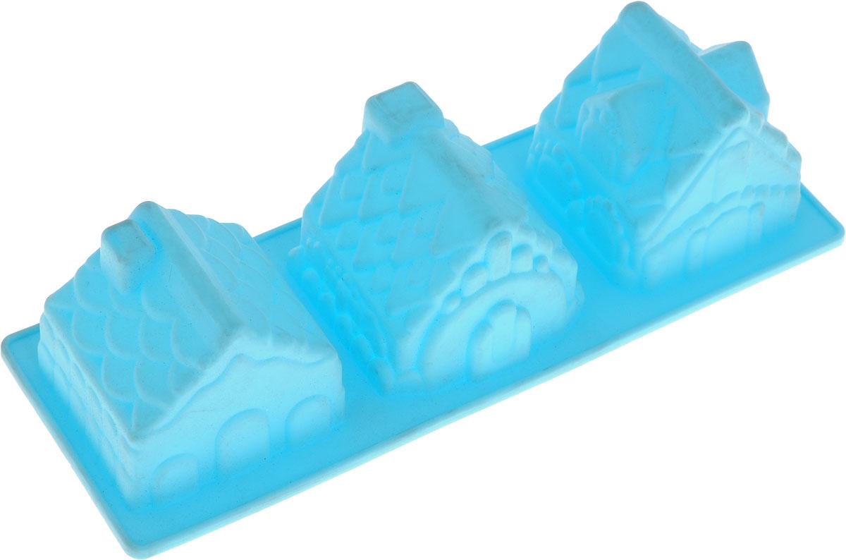 Форма для кексов Attribute Домик, цвет: голубой, 3 ячейки, 24 x 8,5 x 5,5 смABS208_голубойФорма для кексов Attribute Домик позволит приготовить вкусную выпечку оригинальной формы в домашних условиях. Форма с 3 ячейками в форме домика.Форма выполнена из силикона - безопасного, гигиеничного материала, который выдерживает большие перепады температур от -40 до +250°С. Силикон не нагревается и отлично гнется, тем самым упрощает извлечение готового блюда из формы. Пища в такой форме не пригорает, после использования изделие легко моется. Форма может быть использована в духовке любого типа (электрической, газовой, микроволновой). Как выбрать форму для выпечки – статья на OZON Гид.