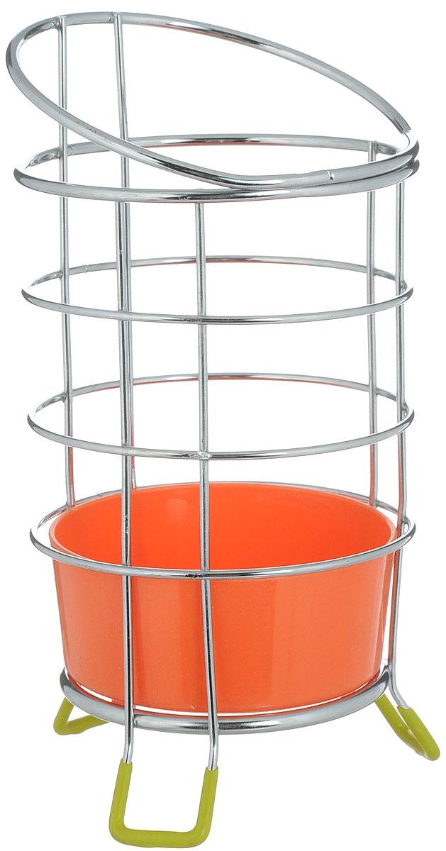 Подставка для столовых приборов Мультидом, с поддоном, цвет: оранжевый, стальной, высота 19 см подставка для столовых приборов cosmoplast цвет красный диаметр 14 см