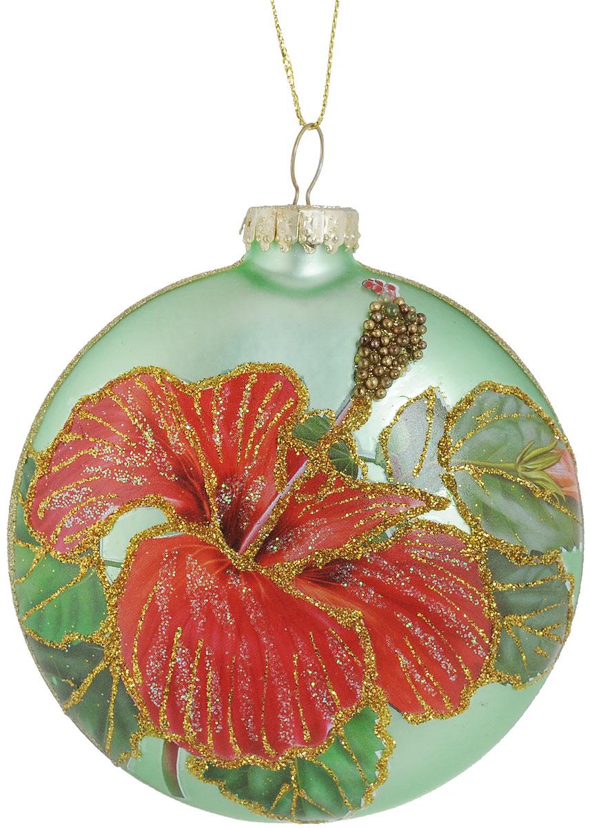 Украшение новогоднее подвесное Erich Krause Цветочный сад. Медальон, цвет: зеленый, 10 см новогоднее подвесное украшение собака ф21 1716
