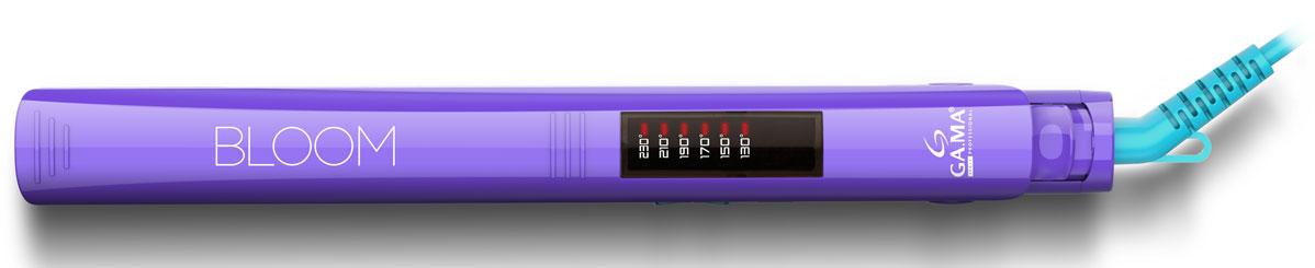 GA.MA Elegance Led Bloom VT, Violet выпрямитель для волосGI0207Выпрямители для волос линейки BLOOM – ELEGANCE LED выпускаются в трех ярких цветах: фиолетовый, розовый и оранжевый. Эти удобные в обращении выпрямители для волос имеют ультралегкую и ультратонкую конструкцию. Они снабжены длинными плавающими нагревательными пластинами (120 х 25 мм), которые идеально адаптируются к вашим волосам, чтобы распрямлять многочисленные локоны. Шесть настроек температуры позволяют выбрать оптимальный уровень нагрева в зависимости от типа выпрямляемых волос. Автоматическое отключение питания через 60 минут работы обеспечивает полную безопасность, даже если вы забудете выключить прибор.
