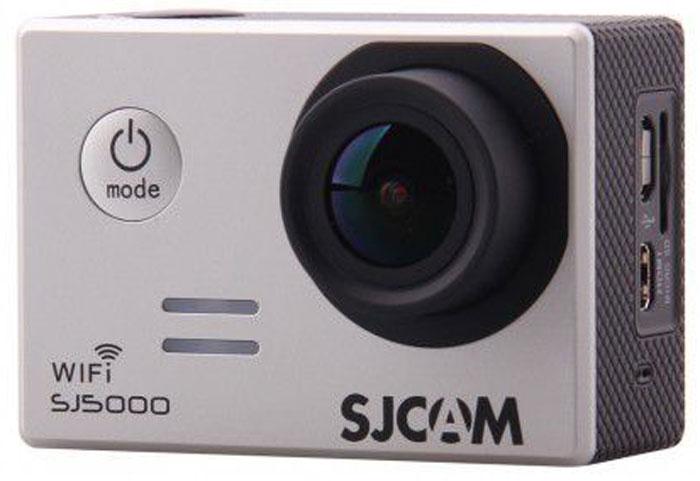 SJCAM SJ5000 WiFi, Silver экшн-камераSJCAM SJ5000WIFI silver;SJCAM SJ5000WIFI silverSJCAM SJ5000 Wi-Fi является продолжением новой линейки экшен камер, которую компания SJCAM представилав декабре 2014 года. Это многофункциональная экшн-камера обладает высоким качеством не только фото ивидео съёмки, но и самого материала. Прочная водонепроницаемая конструкция делает её простонезаменимой в экстремальном отдыхе и спорте.Камера оснащена специальным Wi-Fi модулем, который действует на расстоянии 15 метров.Он позволяеттранслировать видео в прямом эфире на экран Вашего Android или iOS, управлять съёмкой со смартфона, атакже загружать видео с камеры на смартфон с последующей публикацией в Youtube и социальных сетях.Благодаря режиму цейтаоферной съёмки камера может сжимать многочасовые события (например,расцветающую розу) до нескольких секунд. Теперь восход солнца после съёмки произойдёт прямо на глазахваших друзей!SJCAM SJ5000 может быть использована в качестве видеорегистратора благодаря возможности циклическойзаписи. Для этого разместите её на стекле автомобиля с помощью специального крепления и нажмите накнопку записи.Данную модель можно использовать и в качестве Full HD веб-камеры. Всё, что необходимо сделать - этоподключить SJCAM к компьютеру через кабель USB и запустить Skype.SJCAM SJ5000 Wi-Fi получила новый сенсор MN34110PA от Panasonic и чип Novatek 96655 что позволяет получитьсочную и качественную картинку в качестве 1080p. Просмотр отснятого материала теперь стал намногоудобнее, благодаря большому дисплею с диагональю 2 дюйма и разрешением 960x240 точек.В комплект входит множество аксессуаров и креплений, которые помогут вам произвести видеосъемку в любыхэкстремальных условиях. Для записи видео под водой на глубине до 30 метров имеется специальныйводонепроницаемый бокс.Разрешение фото: 4320 x 3250