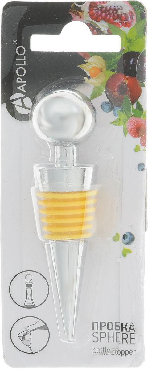 Пробка для бутылки Apollo Sphere, цвет: желтый, стальнойSPR-01_желтыйПробка Apollo Nantes изготовлена из нержавеющей стали и силикона. Она предназначенадляоткрытых бутылок в целях предотвращения окисления вина. Пробка не только сохранит жизньваших вин, но и послужит украшением для бутылки.Мыть вручную. Длина пробки: 8,5 см.