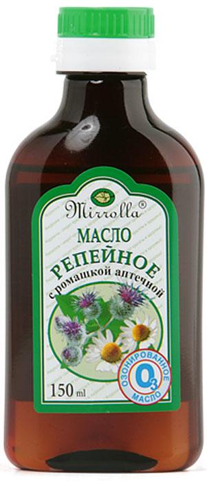 Мирролла Репейное масло с ромашкой аптечной, озонированное, 150 мл81439729Репейное масло содержит активный инулин, богатый комплекс витаминов, протеин, жирные кислоты, дубильные вещества и минеральные соли. Ромашка аптечная способствует ослаблению аллергических реакций и ускорению процесса регенерации. В масле ромашки содержится азулен, который оказывает противоаллергический эффект. Озон (Оз) – форма активного кислорода – усиливает воздействие активных ингредиентов, укрепляет и оживляет клетки корней волос.Озонированное репейное масло с ромашкой аптечной «Мирролла»: - улучшает тканевое дыхание; - нормализует метаболические процессы в фолликулах; - стимулирует рост и обновление волос, препятствует их выпадению; - предотвращает ломкость сухих и поврежденных волос; - придает волосам мягкость и шелковистость.
