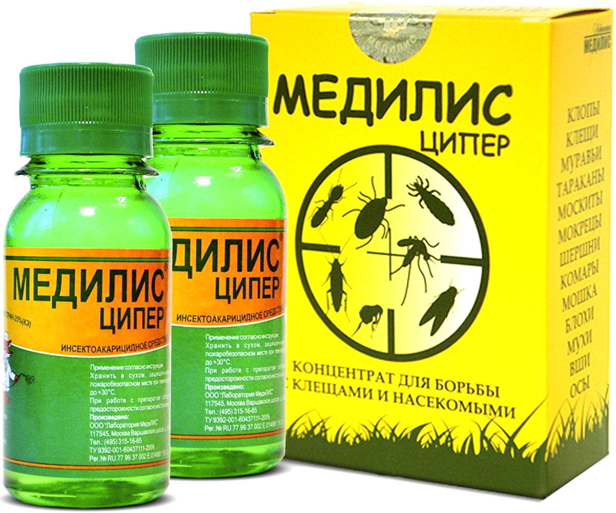 Средство от насекомых Лаборатория МЕДИЛИС Медилис-ЦИПЕР, 100 мл, 2 флакона247МЛИКонцентрат для борьбы с клещами, комарами, постельными клопами, тараканами, муравьями, мухами, осами, шершнями, мошкой, блохами и пр.25% циперметрин представляет собой прозрачную жидкость от светло-желтого до жёлтого цвета в пластиковых флаконах по 50 мл. Упакованы по 2 флакона в коробочку, защищенную от вскрытия голограммами.Средство применяется в быту для обработки территорий и помещений от клещей и различного вида насекомых. Внутри коробочки находится инструкция по разведению и правилам обработки средством. Срок годности средства - 5 лет. Товар сертифицирован.