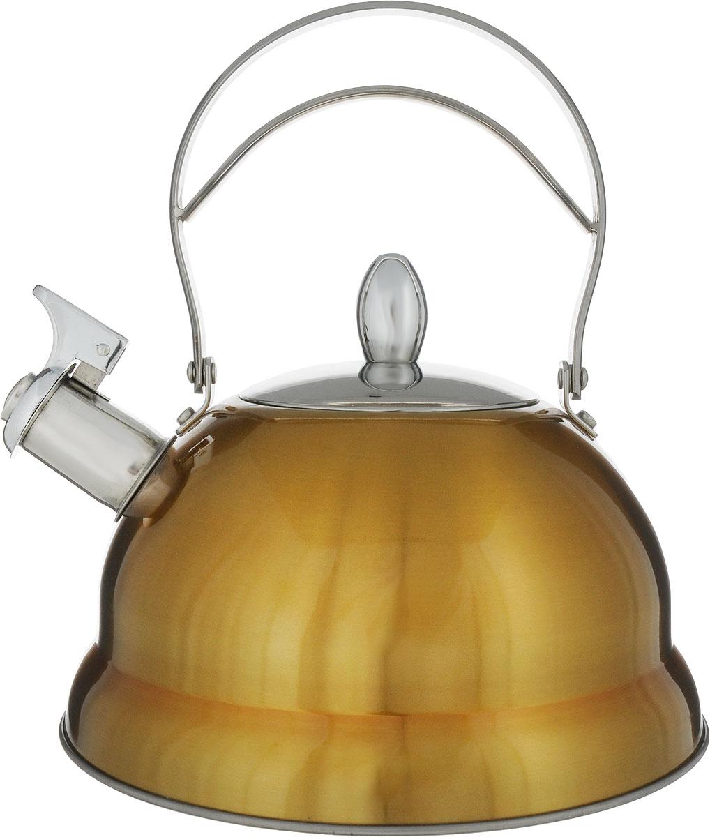 Чайник Bekker De Luxe со свистком, цвет: желтый, 2,7 л. BK-S459BK-S459_желтыйЧайник Bekker De Luxe изготовлен из высококачественной нержавеющей стали 18/10 с цветным эмалевым покрытием. Капсулированное дно распределяет тепло по всей поверхности, что позволяет чайнику быстро закипать. Ручка подвижная. Носик оснащен откидным свистком, который подскажет, когда вода закипела. Свисток открывается и закрывается рычагом на носике. Подходит для всех типов плит, включая индукционные. Можно мыть в посудомоечной машине.Диаметр (по верхнему краю): 10 см. Диаметр основания: 22 см. Высота чайника (без учета ручки): 11,5 см. Высота чайника (с учетом ручки): 25 см.