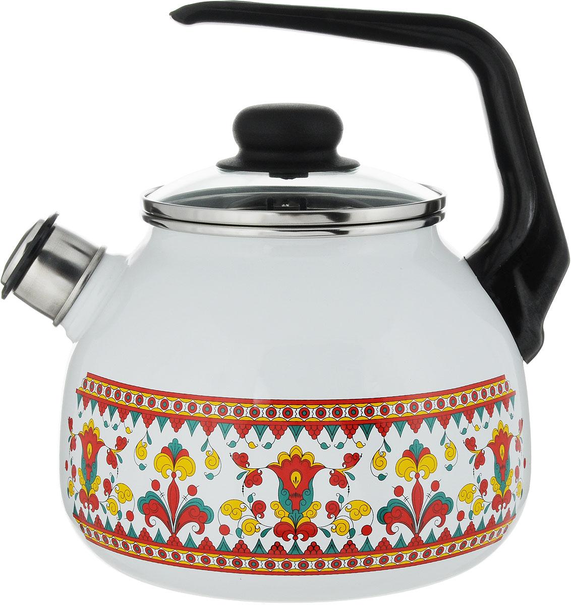 Чайник Appetite Карусель, со свистком, 3 л. 4с209я4с209яЧайник со свистком Appetite изготовлен из высококачественного стального проката сэмалированным покрытием. Эмалированная посуда очень удобна в использовании, онапрактична и элегантна. За такой посудой легко ухаживать: чистить и мыть. Чайники сэмалированным покрытием обладают неоспоримым преимуществом: гладкая поверхность невпитывает запахи и препятствует размножению бактерий. Чайник оснащен удобной бакелитовой ручкой, стеклянной крышкой.Носик чайника имеет съемный свисток, звуковой сигнал которого подскажет, когдазакипит вода. Подходит для использования на всех видах плит: электрических, газовых,стеклокерамических, индукционных.