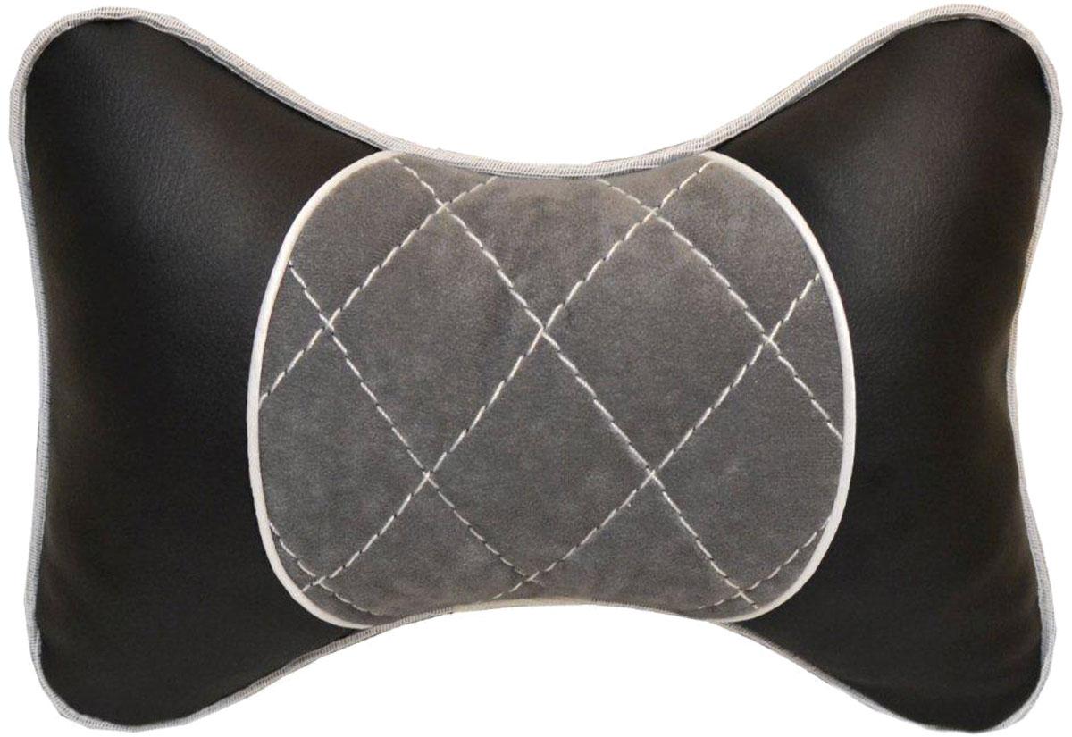 Подушка автомобильная Auto Premium, на подголовник, цвет: черный, серый. 3760237602Подушка на подголовник выполнена из черной гладкой экокожи, а вставка из серого велюра имеет обрамление мягким кантом. Подушка на подголовник - это прежде всего лучший способ создать комфорт для шеи и головы во время пребывания в автомобильном кресле. Такая подушка будет удобна как водителю, так и пассажиру. При производстве используются высококачественные, износостойкие материалы и гипоаллергенные наполнители.