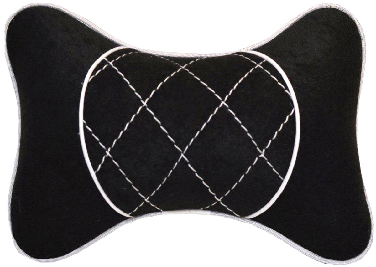 Подушка автомобильная Auto Premium, на подголовник, цвет: черный, белый. 3760837608Подушка на подголовник выполнена из черного велюра, а вставка из черного велюра с белой отстрочкой имеет обрамление мягким кантом. Подушка на подголовник - это прежде всего лучший способ создать комфорт для шеи и головы во время пребывания в автомобильном кресле. Такая подушка будет удобна как водителю, так и пассажиру. При производстве используются высококачественные, износостойкие материалы и гипоаллергенные наполнители.