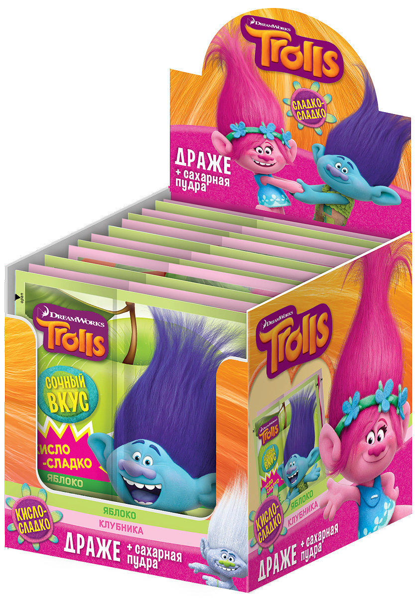 Конфитрейд Trolls драже с кисло-сладкой пудрой, 24 шт по 15 гУТ21054Конфета в форме палочки и пудра в герметичном пищевом флоупаке с полноцветным дизайном.