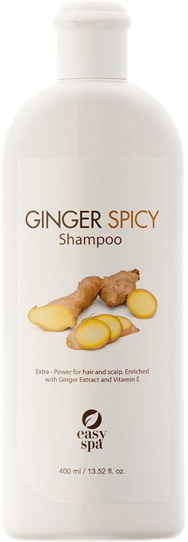 Easy Spa Шампунь для волос и кожи головы экстра-питание Ginger Spicy, 400 мл60546Шампунь экстра-питание для волос и кожи головы. Формула обогащенная экстрактом пряного имбиря для улучшения микроциркуляции кожи головы, что способствует усилению питания волос. Содержит витамин Е и масло жожоба, которые благотворно влияют на структуру волос. Волосы становятся увлажненными и здоровыми. Применение: нанесите на влажные волосы, мягко массируйте до образования пены, тщательно промойте водой. При необходимости повторите. Для достижения наилучших результатов используйте с Ginger Spicy кондиционером.
