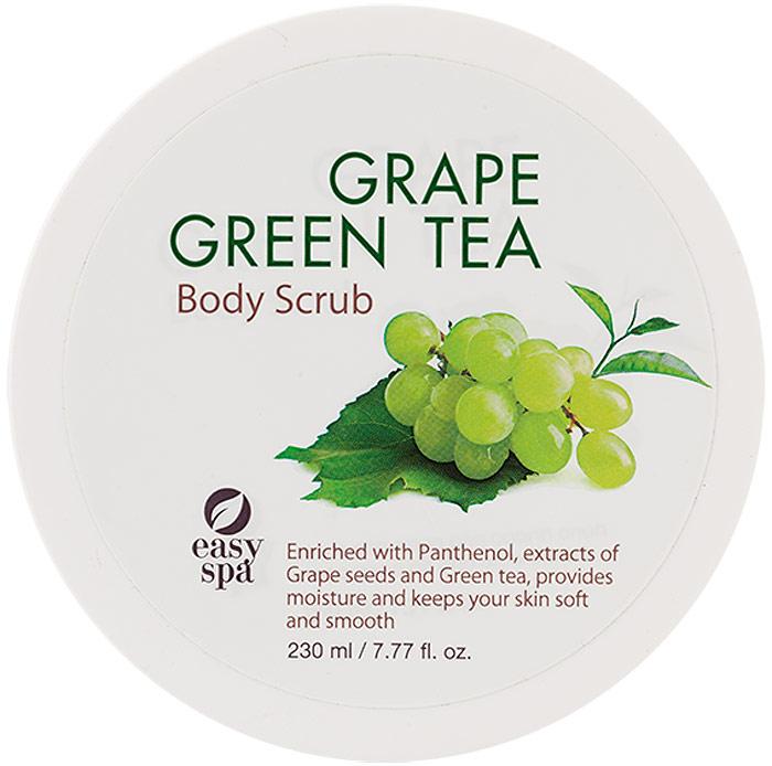 Easy Spa Скраб для тела Grape&GreenTea, 230 мл63746Скраб для тела с частицами грецкого ореха эффективно отшелушивает и очищает кожу, делает ее гладкой и шелковистой. Антиоксиданты, входящие в состав экстрактов виноградных косточек и зеленого чая, защищают кожу от негативного воздействия окружающей среды. Питательная формула, обогащенная пантенолом, способствует интенсивному увлажнению и смягчению кожи. Благодаря натуральным экстрактам скраб обладает приятным ароматом винограда и зеленого чая.