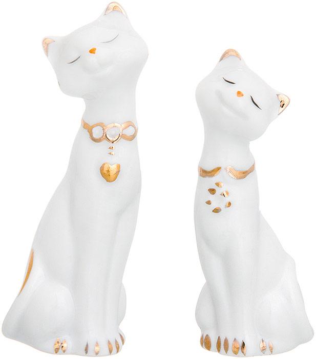 Фигурка декоративная Elan Gallery Пара кошек, цвет: белый, золотистый, 7 х 3,5 х 10 см, 2 шт набор для специй elan gallery эйфелева башня 2 предмета