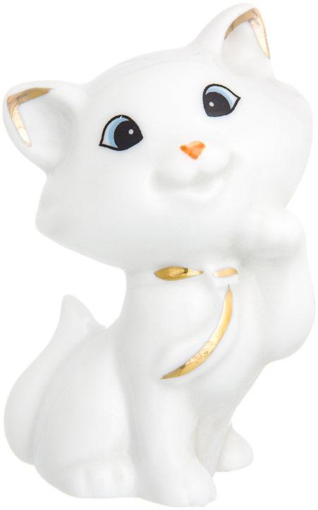 Фигурка декоративная Elan Gallery Приветливый котенок, цвет: белый, золотистый, 5,5 х 4 х 7,8 см