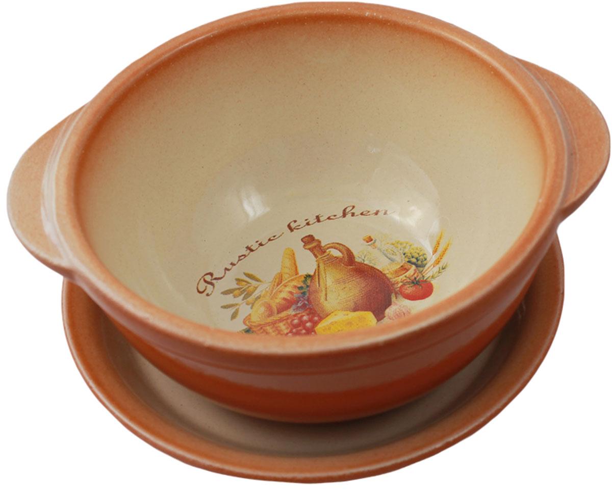 Миска Ломоносовская керамика, выполненная из  высококачественной глины, оснащена ручками и блюдцем.   Такая миска украсит сервировку вашего стола и подчеркнет прекрасный вкус хозяина, а также станет отличным подарком.