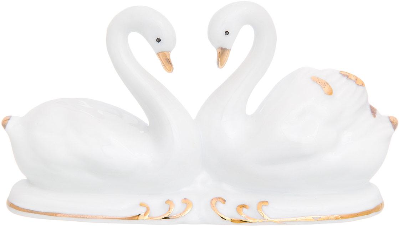 Фигурка декоративная Elan Gallery Белые лебеди, цвет: белый, золотистый, 13 х 4 х 7 см