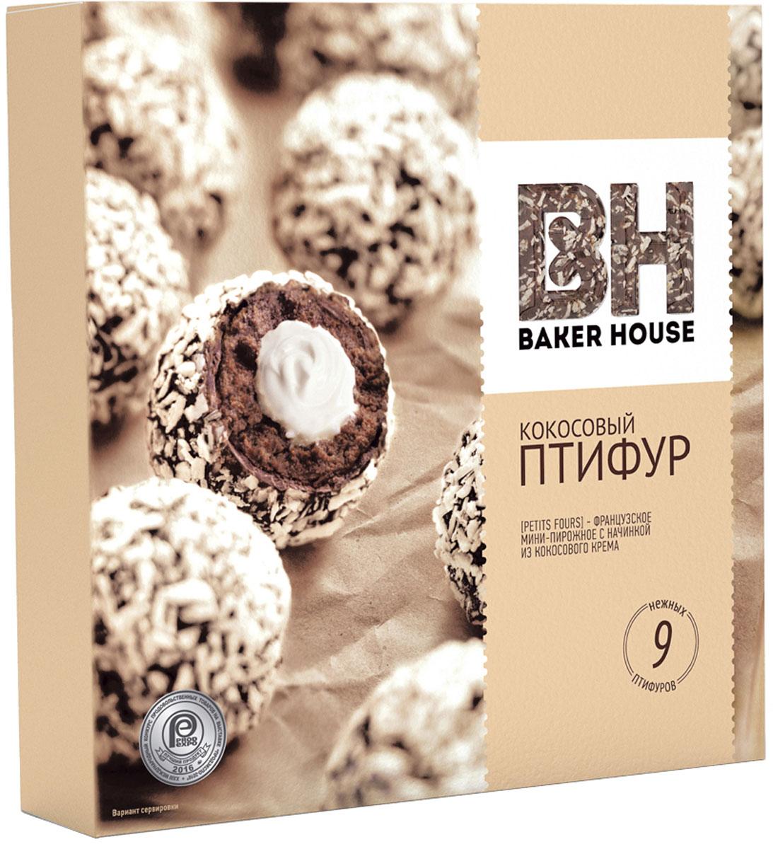 Baker House Птифур пирожные с кокосовым кремом, 225 г4607001416135Бисквиты Птифур пирожные с кокосовым кремом Baker House225 гр.Французские мини-пирожные в форме шариков. Приготовлены на основе шоколадного бисквита с начинкой из кокосового крема, сверху посыпаны кокосовой стружкой. Этот десерт станет прекрасным дополнением к чаю, кофе.В упаковке 9 мини-пирожных.
