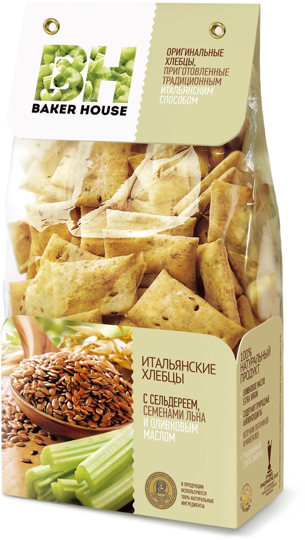 Baker House хлебцы итальянские с сельдереем, семенами льна и оливковым маслом, 250 г4607001416319Итальянские хлебцы, под торговой маркой Baker House, приготовленные по оригинальному рецепту, с витаминами и полезными минералами, имеют в составе 100% натуральные ингредиенты, в т.ч. оливковое масло Extra Virgin.