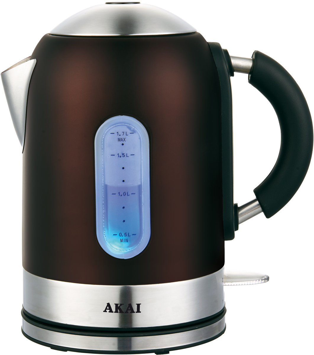 Akai 1023D, Chocolate электрический чайник1023DЧайник электрический, объем: 1,7 л. Корпус из НЕРЖАВЕЮЩЕЙ СТАЛИ, ЦВЕТНОЕ ПОКРЫТИЕ - ШОКОЛАД, ЗАКРЫТЫЙ ДИСКОВЫЙ НАГРЕВАТЕЛЬНЫЙ ЭЛЕМЕНТ. Стильный дизайн, индикатор уровня воды, автоотключение при закипании/отсутствии воды, поворот на подставке на 360?, световой индикатор работы, отсек для хранения шнура. Потребляемая мощность 2200 Вт.