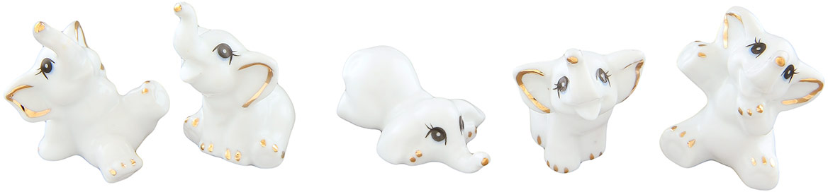 Набор фигурок декоративных Elan Gallery Слоники, цвет: белый, 5 предметов набор форм для запекания marmiton 13 5 х 8 5 х 4 см 3 шт
