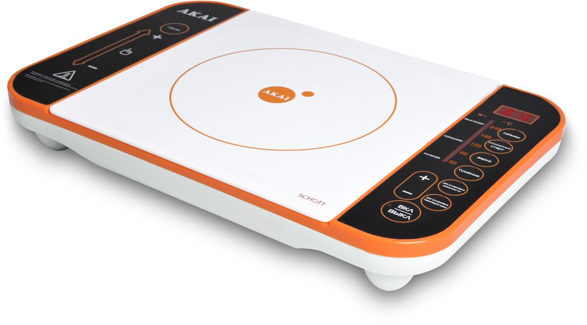 Akai TI-1174 O, Orange White плитка индукционная1174OИндукционная электрическая плитка, мощность: 2100 Вт. Сенсорная панель управления (Touch screen). НАСТРАИВАЕМЫЙ ДИАПАЗОН ТЕМПЕРАТУР: 60°С -240°С . СВЕРХПРОЧНОЕ ПОКРЫТИЕ ИЗ СТЕКЛА SCHOTT. ЧЕТЫРЕ РЕЖИМА РАБОТЫ: Варка, тушение, отложенный старт, таймер ДОПОЛНИТЕЛЬНЫЕ ФУНКЦИИ: Регулируемая мощность нагрева 100-2000 Вт, регулировка температуры, пауза (возможность прервать процесс готовки).