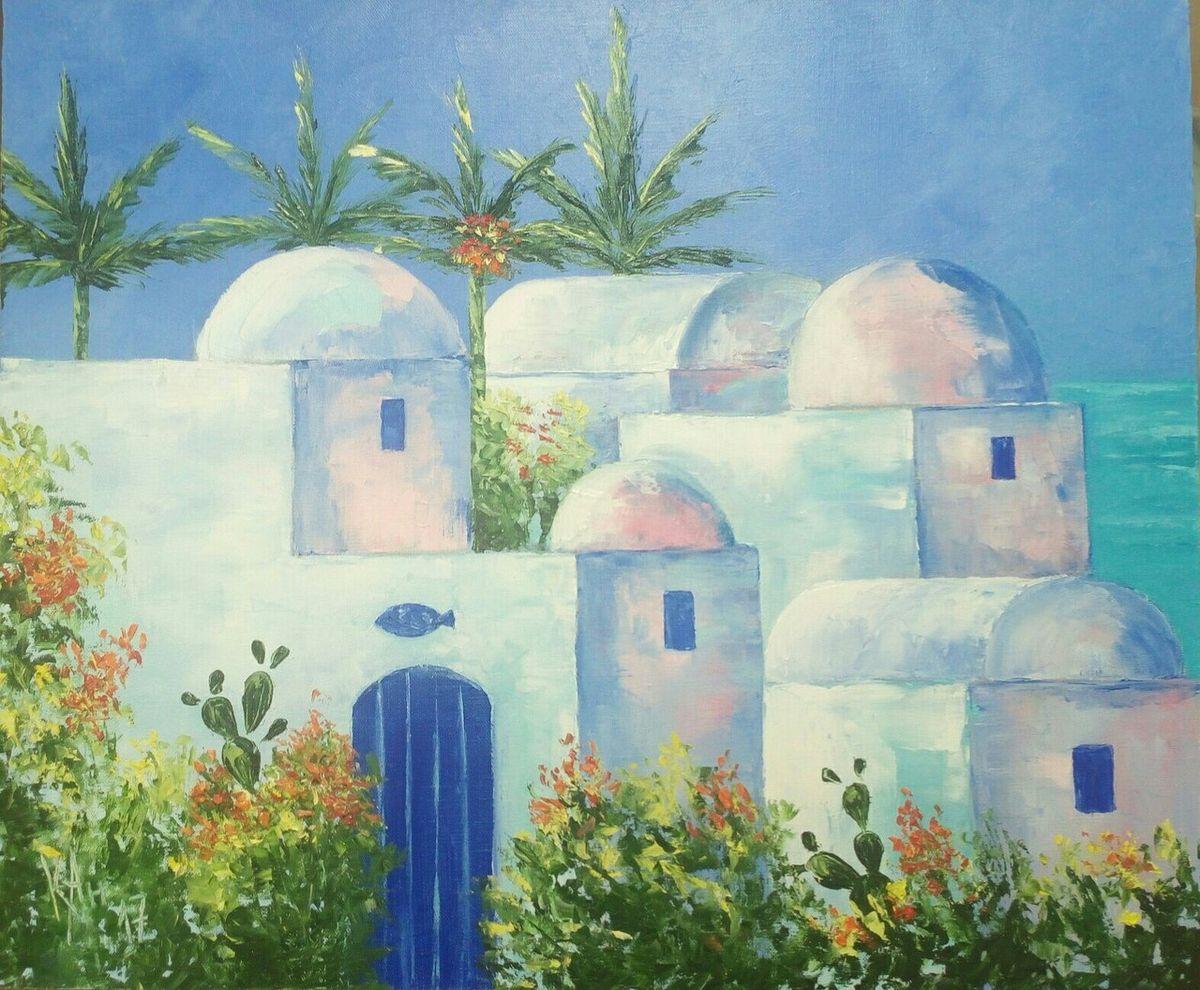 Картина Тунис, холст, масло, 50 х 60 см. Художник AngelucKYК026Картина Тунис, размер 50х60, холст, масло. Художница Анжела Станиславовна Кузнецова, псевдоним AngelucKY, являясь петербурженкой от рождения (1981 год), продолжает жить и работать в прекрасном городе на Неве, с 2010 года профессионально занимается живописью. Основным сюжетом для картин, является авторская, запатентованная серия «Совы», отсылающая зрителя к лучшим традициям иллюстрированного жанра. Кроме того, в творчестве художницы преобладающим интересом является масляная холстовая живопись, пленэрный пейзаж, жанровые сюжеты, цветочные натюрморты и анималистика.