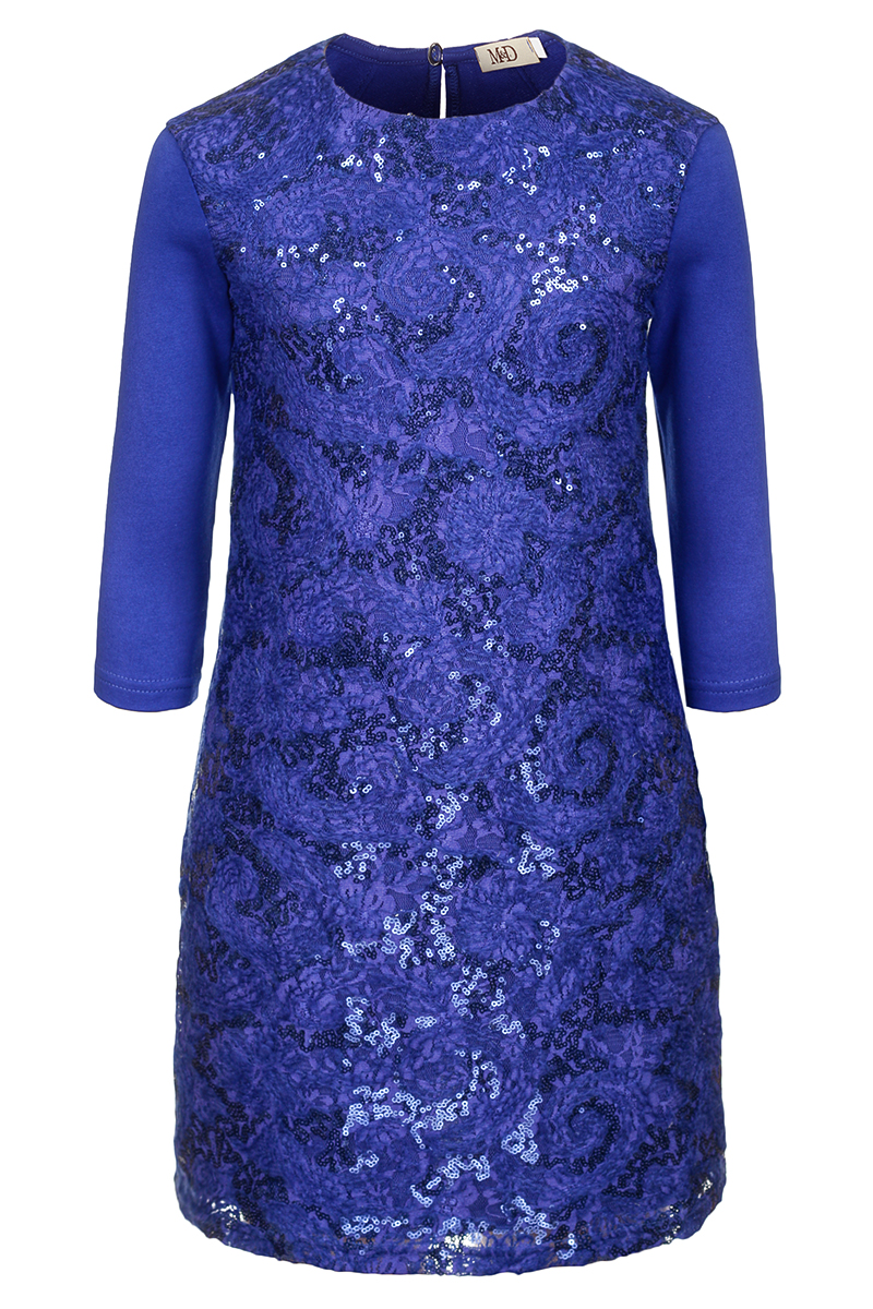Платье для девочек M&D, цвет: васильковый. 18221120681. Размер 140 платье футболка женское deha из трикотажного хлопка