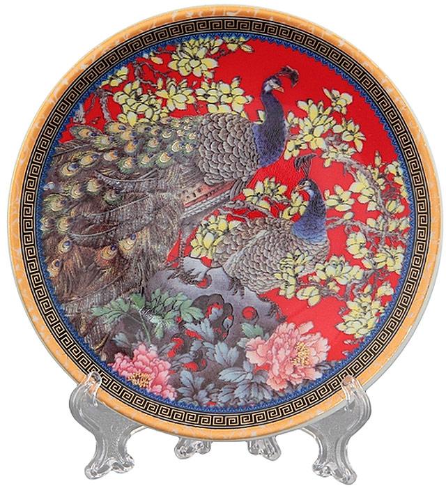Тарелка декоративная Elan Gallery Павлин на красном, с подставкой, цвет: красный, диаметр 10 см сувениры религиозные elan gallery тарелка декоративная пресвятая богородица неупиваемая чаша