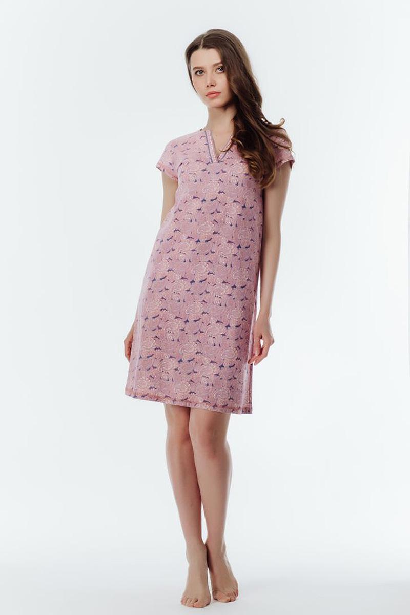 Ночная рубашка женская Melado Пейсли, цвет: розовый. 8102L-60001.1S-051. Размер 528102L-60001.1S-051Стильная сорочка свободного кроя с рукавами-крылышками. Ворот украшен планкой из оригинальной набивки. Длина сорочки выше колен.