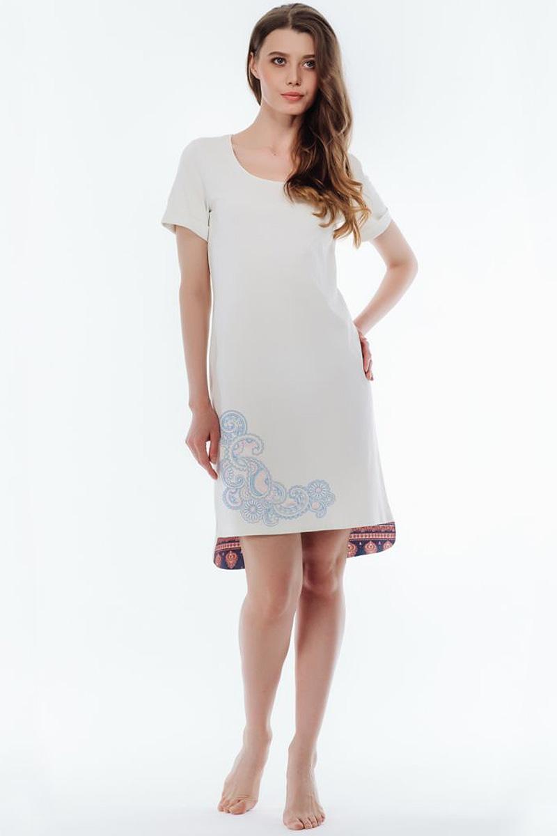 Ночная рубашка женская Melado Пейсли, цвет: светло-серый. 8102L-60002.1S-220.4. Размер 548102L-60002.1S-220.4Оригинальная и стильная сорочка с удлиненной спинкой, низ которой украшен вставкой из набивки пейсли. На передней детали по низу -изящный принт, горловина отделана узкой эластичной тесьмой.