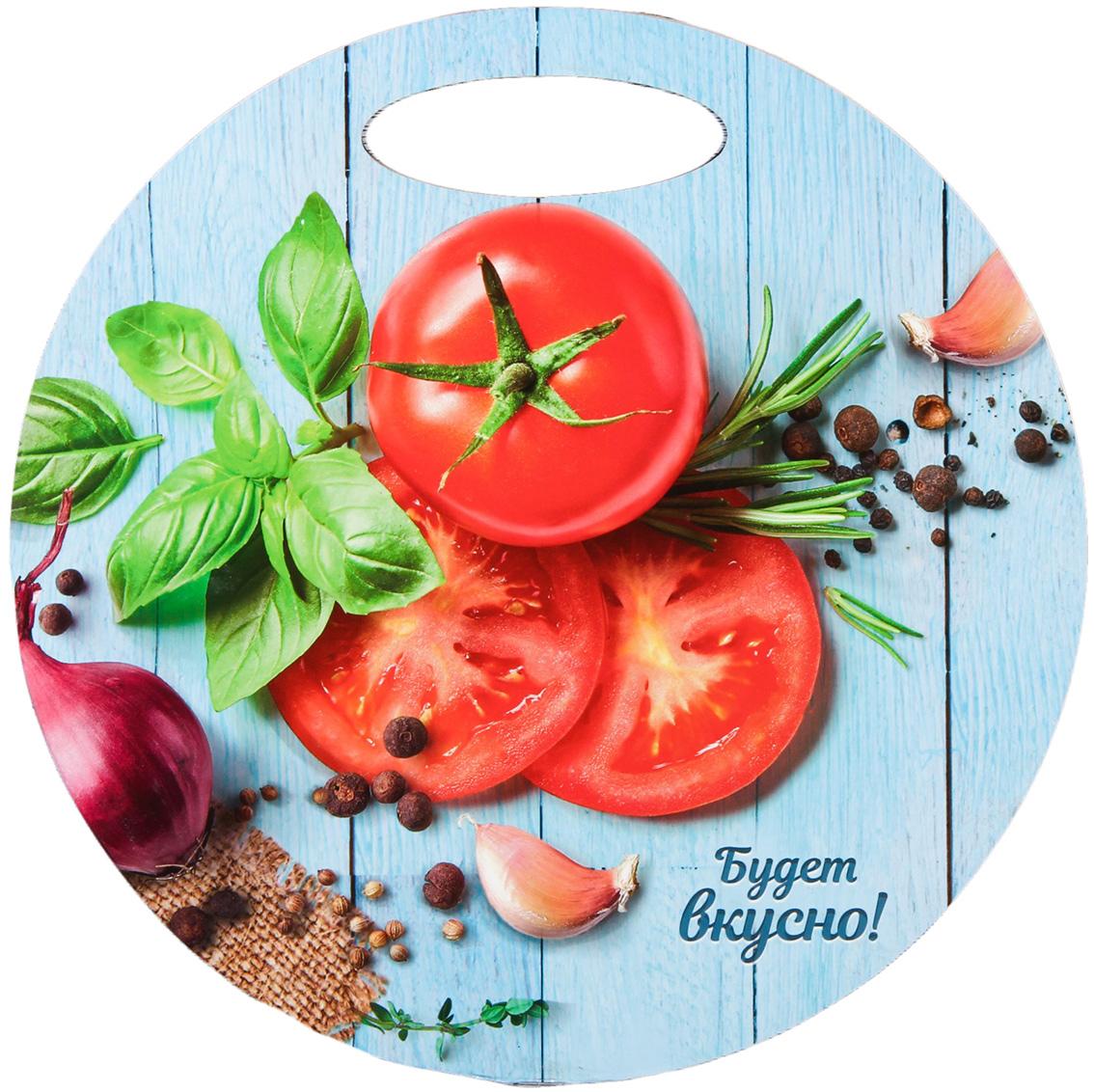 """Доска разделочная """"Будет вкусно"""", цвет: голубой, красный, зеленый, диаметр 24 см"""