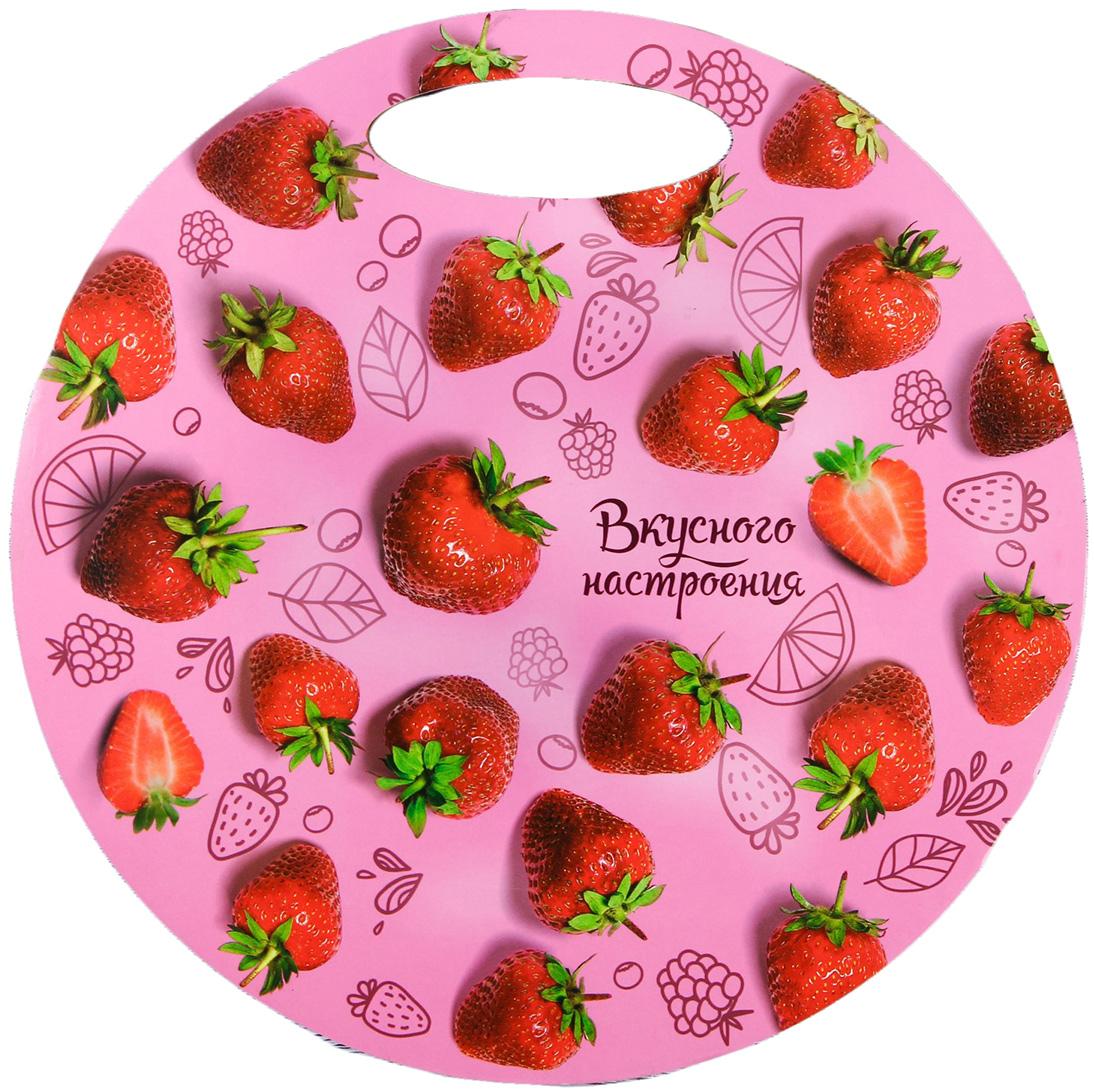 """Доска разделочная """"Вкусного настроения"""", цвет: розовый, красный, зеленый, диаметр 27 см"""