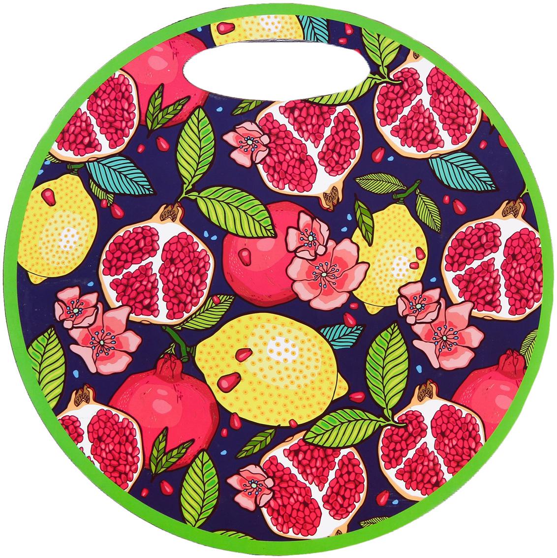 Доска разделочная Фрукты, цвет: фиолетовый, розовый, желтый, зеленый, диаметр 33 см3120319Сувенир в полном смысле этого слова. И главная его задача — хранить воспоминание о месте, где вы побывали, или о том человеке, который подарил данный предмет. Преподнесите эту вещь своему другу, и она станет достойным украшением его дома.От качества посуды зависит не только вкус еды, но и здоровье человека. Товар, соответствующий российским стандартам качества. Любой хозяйке будет приятно держать его в руках. С нашей посудой и кухонной утварью приготовление еды и сервировка стола превратятся в настоящий праздник.