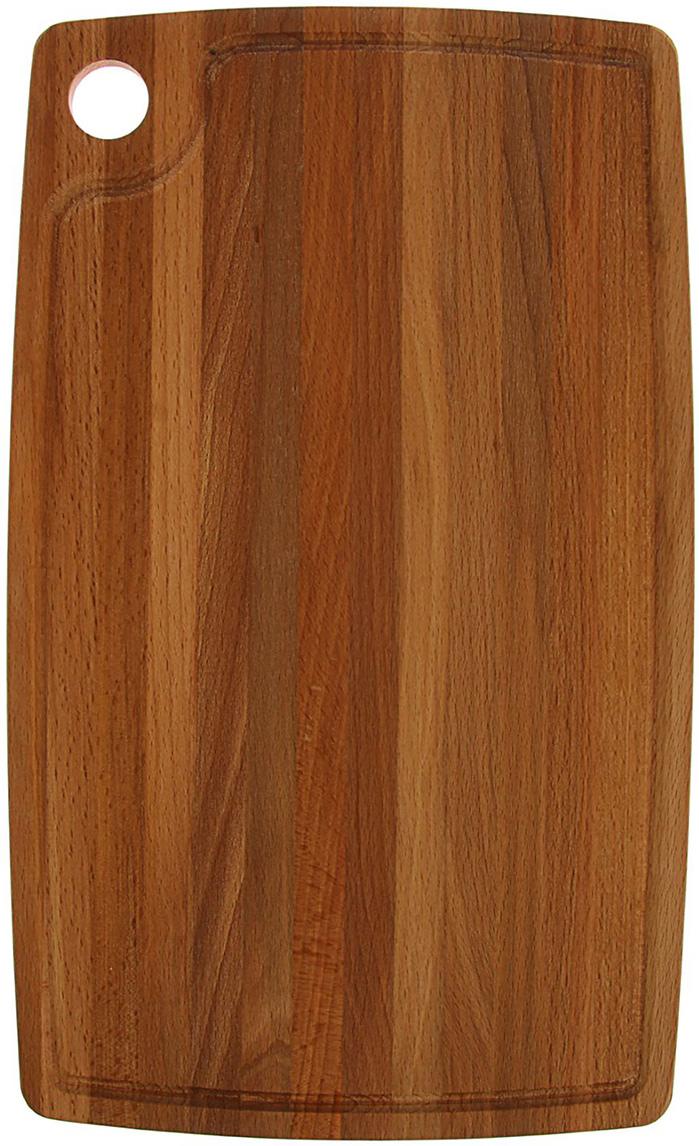 Доска разделочная с отверстием и кровостоком, цвет: коричневый, 23 x 38 x 1,2 см1814454Эта доска подходит не только для нарезки продуктов, ее можноиспользовать и в качестве подноса. Подав сырный набор или колбаснуюнарезку таким оригинальным образом, вы точно удивите своих гостей. Изделие выполнено из древесины твердых пород, которые менеечувствительны к влаге. Этот материал имеет больший срок службы. Такжетакая древесина приспособлена для ежедневной нарезки твердых продуктов.Уход за деревянной разделочной доской: Обработайте перед первым применением. Используйте пищевоеминеральное или льняное масло. Протрите им доску и дайте впитаться вдревесину. Уберите излишки масла сухой тканью. Повторяйте процедурукаждые 2-3 месяца, так вы предотвратите появление пятен, плесени изапахов еды. Для сохранения гладкости протирайте изделие наждачной бумагой. Используйте несколько разделочных досок для разного вида пищи. Этопрепятствует распространению бактерий сырых продуктов. Тщательно мойте и дезинфицируйте разделочную доску мылом и горячейводой после каждого использования. После этого высушите. Чтобы избавиться от запаха чеснока или лука, смажьте доску солью слимоном. Через пару минут протрите поверхность и промойте ее. Храните доску в сухом месте в вертикальном положении и вдали отпосторонних запахов. Соблюдайте рекомендации, и разделочная доска прослужит вам долгие годы!