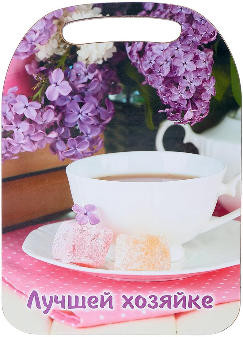 "Доска разделочная Avanti-stile ""Лучшей хозяйке"", цвет: сиреневый, розовый, белый, 29 x 21 x 0,6 см"