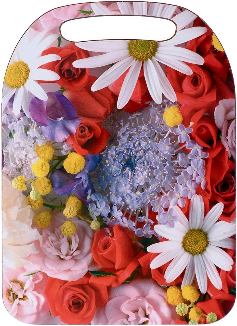 Доска разделочная Avanti-stile Розы, цвет: белый, красный, 29 x 21 x 0,6 см доска разделочная avanti stile водопад цвет голубой зеленый коричневый 29 x 21 x 0 6 см