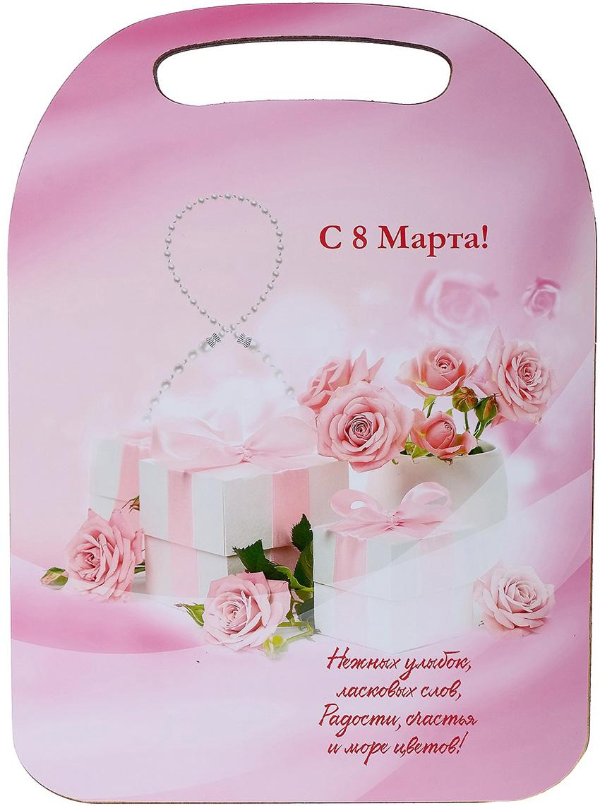 "Доска разделочная Avanti-stile ""С 8 Марта!"", цвет: розовый, красный, 29 x 21 x 0,6 см"