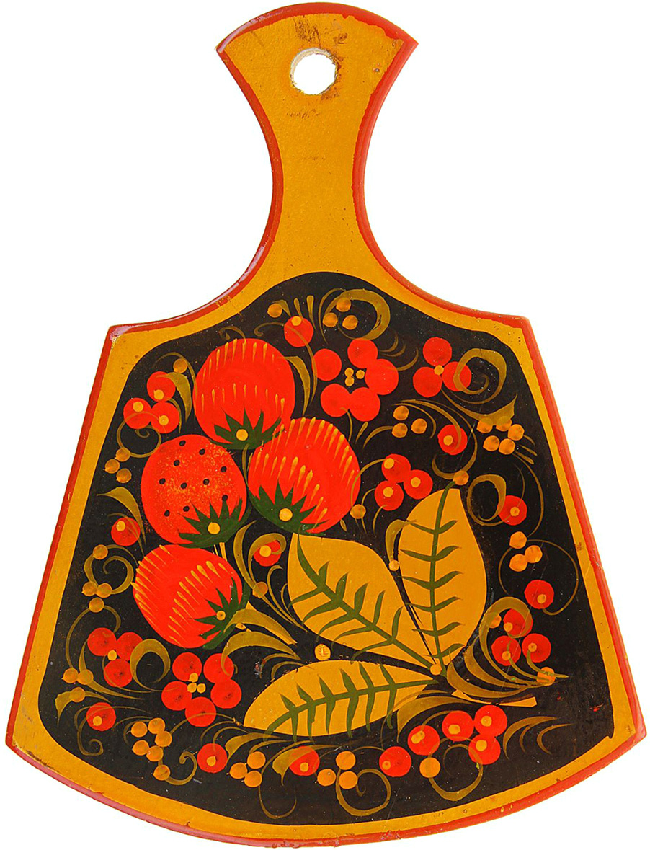 Доска разделочная Лимонница, цвет: черный, красный, золотой, 17 x 12 x 1 см520581Хохлома является истинным олицетворением традиции народных промысловна Руси. Любима она и сегодня за свои неповторимые узоры и гармоничноецветовое сочетание. Основные краски, применяемые в росписи, относятся ктеплой гамме спектра: красный, черный, золотой. Сочетание этих цветов, пришедших из иконописи, очень символично: красный (красивый) – цвет власти; золотой – цвет поиска, благополучия, божественного начала; черный – цвет занавеси перед вечной жизнью, цвет духовного очищения. Такой колорит способствует снятию стресса и сравним с восприятием плавнотекущей реки или мирно горящего огня. Традиционные элементы хохломы – красные сочные ягоды рябины иземляники, цветы и ветки. Нередко встречаются птицы, рыбы и звери. Расписывают изделия вручную, без предварительной разметки, благодаряэтому каждое изделие уникально, и рисунок каждый раз отличается отпредыдущего.