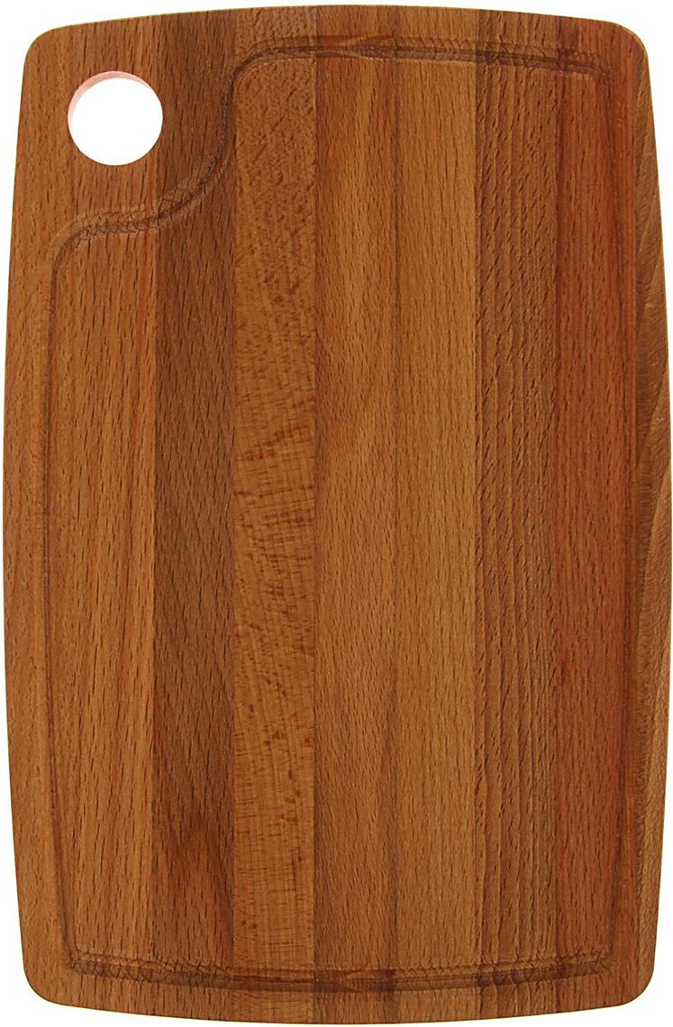 Доска разделочная с отверстием и кровостоком, цвет: коричневый, 29 x 19 x 1,2 см1814453Эта доска подходит не только для нарезки продуктов, ее можноиспользовать и в качестве подноса. Подав сырный набор или колбаснуюнарезку таким оригинальным образом, вы точно удивите своих гостей. Изделие выполнено из древесины твердых пород, которые менеечувствительны к влаге. Этот материал имеет больший срок службы. Такжетакая древесина приспособлена для ежедневной нарезки твердых продуктов.Уход за деревянной разделочной доской: Обработайте перед первым применением. Используйте пищевоеминеральное или льняное масло. Протрите им доску и дайте впитаться вдревесину. Уберите излишки масла сухой тканью. Повторяйте процедурукаждые 2-3 месяца, так вы предотвратите появление пятен, плесени изапахов еды. Для сохранения гладкости протирайте изделие наждачной бумагой. Используйте несколько разделочных досок для разного вида пищи. Этопрепятствует распространению бактерий сырых продуктов. Тщательно мойте и дезинфицируйте разделочную доску мылом и горячейводой после каждого использования. После этого высушите. Чтобы избавиться от запаха чеснока или лука, смажьте доску солью слимоном. Через пару минут протрите поверхность и промойте ее. Храните доску в сухом месте в вертикальном положении и вдали отпосторонних запахов. Соблюдайте рекомендации, и разделочная доска прослужит вам долгие годы!
