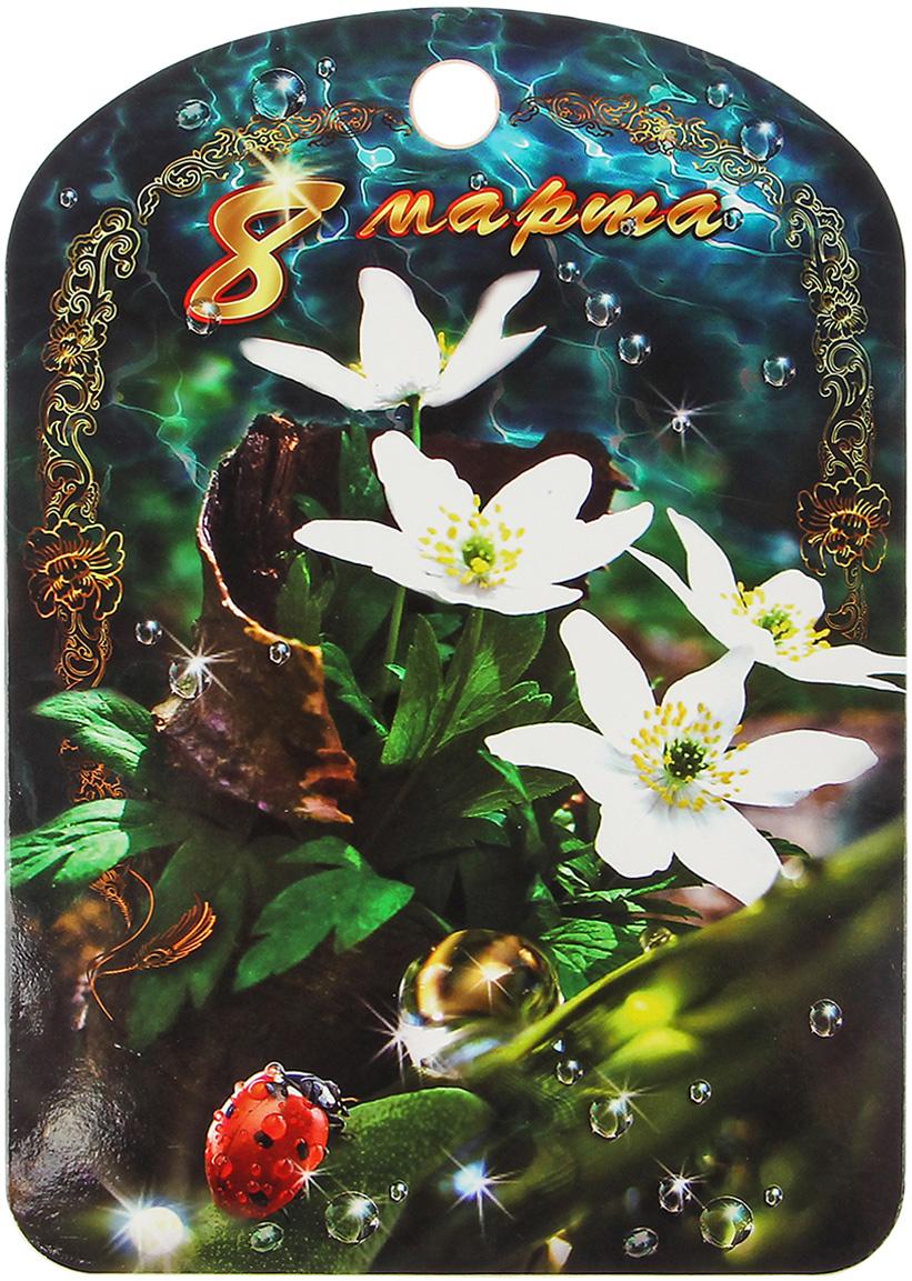 Доска разделочная 8 марта. Цветы в лесу, цвет: белый, зеленый, коричневый, 27,5 x 19,5 x 0,5 см2844396От качества посуды зависит не только вкус еды, но и здоровье человека.Разделочная доска соответствует российским стандартам качества. Любойхозяйке будетприятно держать ее в руках. Доска оснащена отверстием для подвешиванияна крючок и декорирована красочным рисунком.Такая доска прекрасно впишется в интерьер любой кухни и прослужит вамдолгие годы.