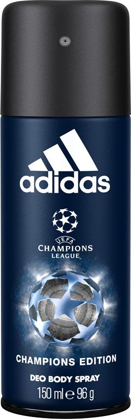 Adidas Део-спрей UEFA IV мужской, 150 мл31985647000Дезодорант спрей Adidas UEFA Champions League Arena Edition с пряным восточным ароматом обеспечивает защиту от запаха пота на 24 часа.