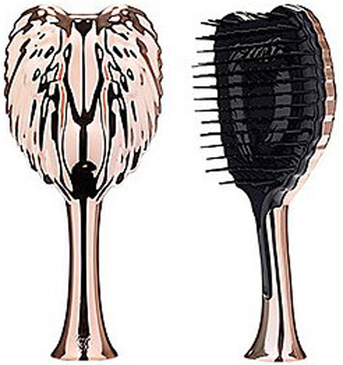 Tangle Angel Pro Расческа для волос Rose Gold21302Tangle Angel Pro - новая революционная расческа-детанглер от лаборатории Ричарда Варда. Специалисты разработали принципиально новые зубчики-лезвия, которые гнуться в противоположных направлениях, за счет чего происходит максимально легкое и безболезненное расчесывание и распутывание узелков на волосах. Уникальная антистатическая вставка сводит к минимуму статичность волос - они больше не будут электризоваться!Tangle Angel Pro идеально подходит для расчесывания как влажных, так и сухих волос, ее спокойно можно использовать вместе с феном.