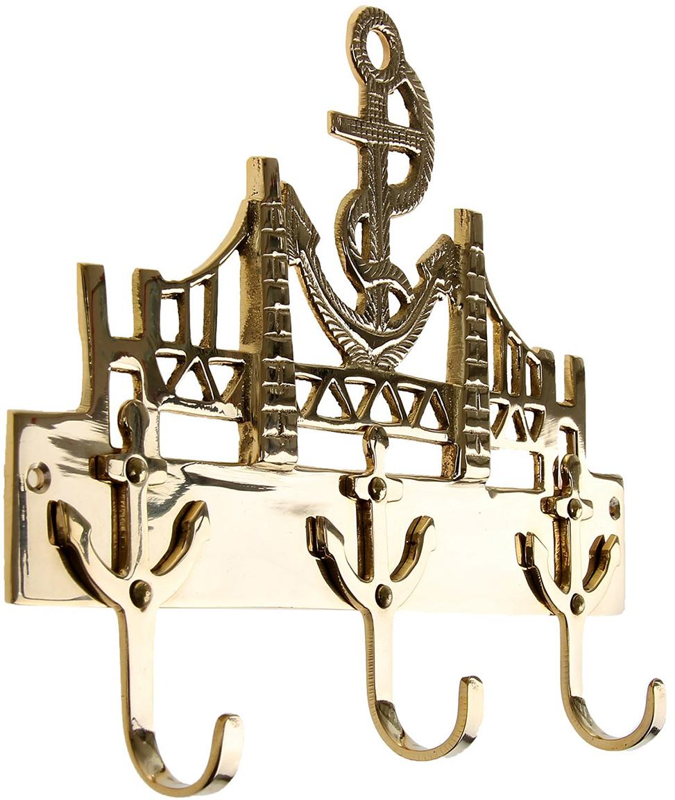 Крючок Мост, цвет: золотой1044270Вот замечательный крючок,Он не узок, не широк,Созданный вручную,На радость Вам большую.Повесить на кухне или в прихожей,Иль, может быть, в ванной, в гостиной и спальной.Ключи, полотенца и поварёшки — всё это крючкам очень даже пригоже.Удержат одежду и разные вещи — такой вот крючок универсальный.
