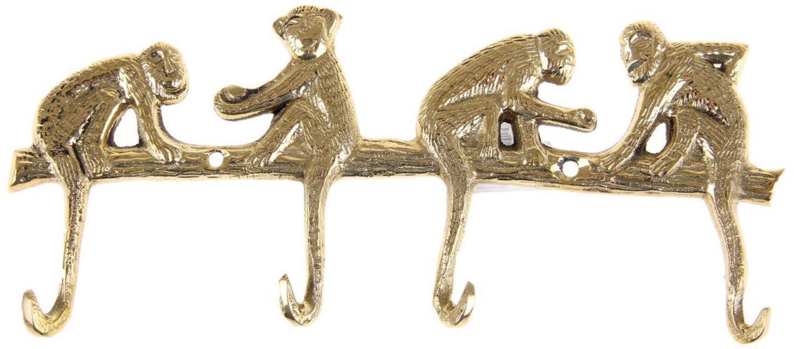 Крючок Четыре обезьянки, цвет: золотой1044782Замечательные латунные крючки с милыми обезьянками созданы вручную индийскими мастерами-ремесленниками. Их хвостики крепко держат всё, что на них висит: ключи, полотенца, ложки, поварёшки и другие вещицы. Актуально преподнести крючки в качестве подарка, как символ года: эти зверьки будут оберегать дом и привлекать в него позитив. Разместите их в прихожей, на кухне или в ванной комнате, пусть они украшают и дополняют интерьер.