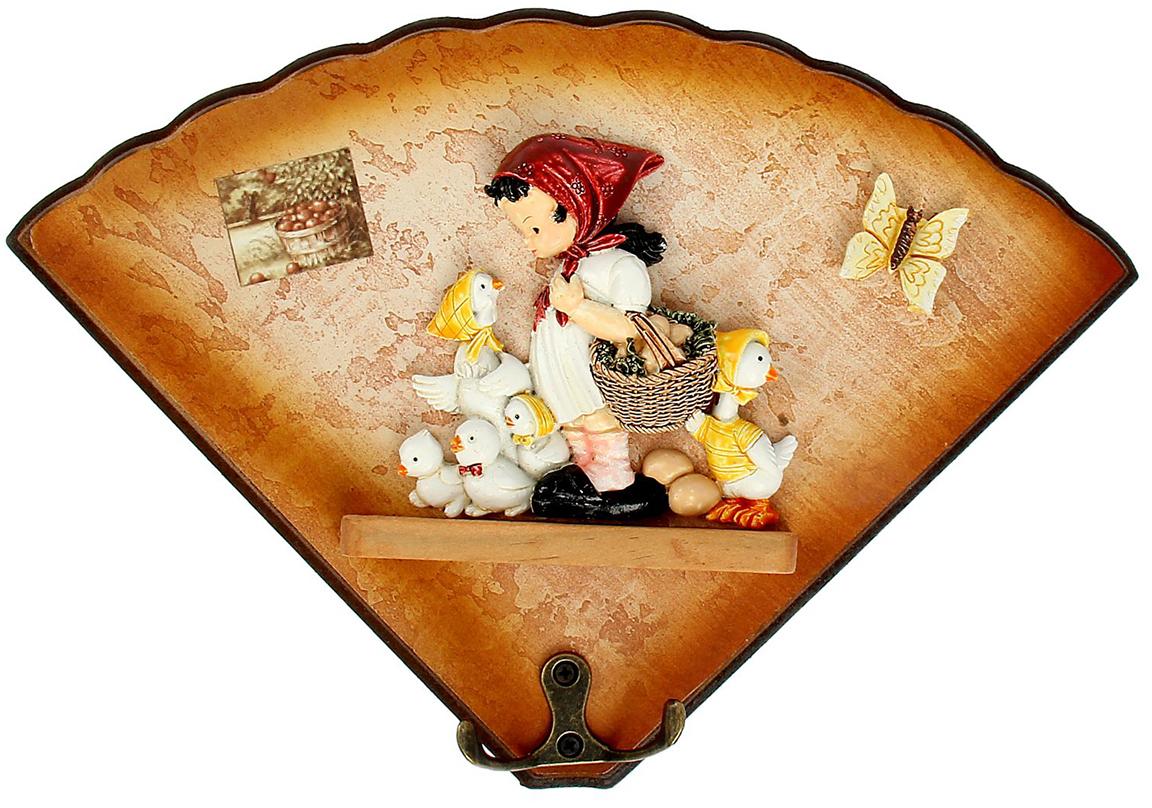 Крючки-веер Девочка с цыплятами, цвет: коричневый, мультиколор135359Истинные хозяйки и хранительницы домашнего очага не понаслышке знают, что для того, чтобы дом стал по-настоящему уютным, важно не упускать из виду ни единой мелочи. Такие небольшие детали, как декоративные крючки, с успехом могут стать не только полезным предметом, но и изящным украшением интерьера. Небольшое панно с закрепленными на нем крючками, кажется, буквально проникнуто домашним теплом и уютом. Оно станет замечательным аксессуаром для дома, который не хочется покидать.