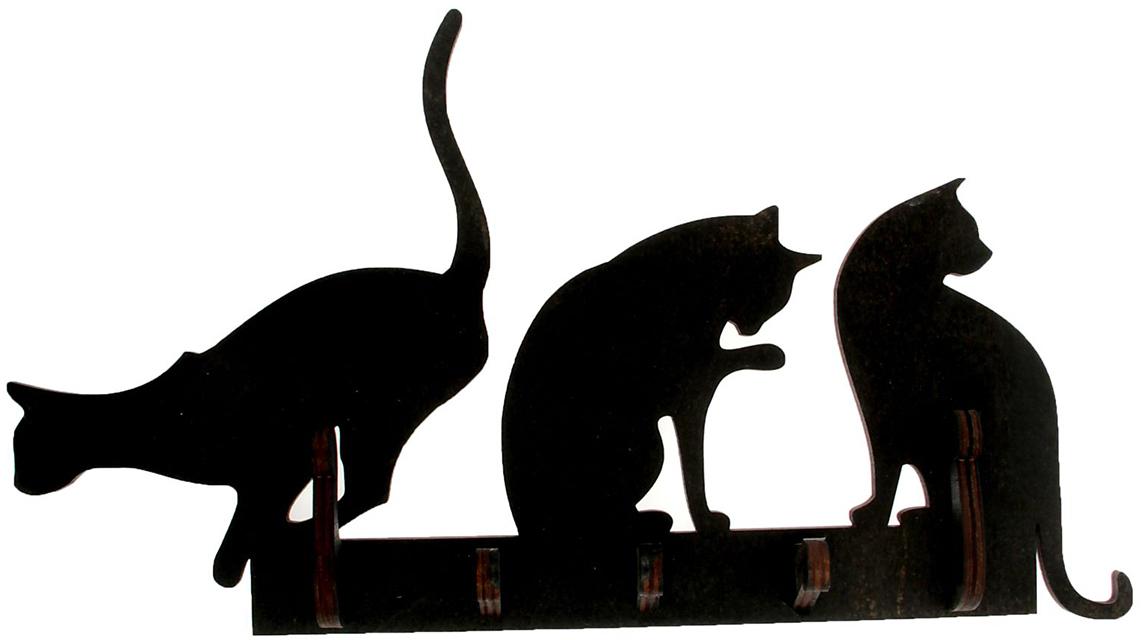 Ключница открытая Три кошки, цвет: черный1510509Удобно, когда всё лежит на своих местах, особенно ключи. Ведь они часто теряются в самый неподходящий момент. Чтобы решить такую проблему, обзаведитесь привычкой вешать их на специальное место. Удобная ключница станет украшением прихожей и сэкономит вам время перед выходом.