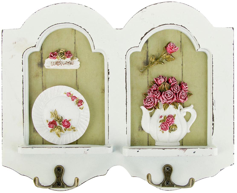 Крючки декоративные Сервиз с розами, дерево, 22,5 х 28 см