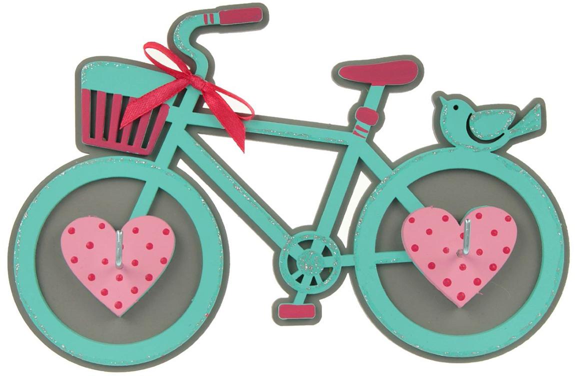 Ключница Канышевы Велосипед, цвет: бирюзовый, серый, 21 х 14 см2379194Если вы привыкли, чтобы в доме царил порядок и каждая вещь находилась на предназначенном ей месте, то наверняка оцените такой простой и удобный атрибут, как ключница открытого типа. На её крючки можно повесить самые разные мелочи — от ключей до прихватки. Благодаря уютному и по-настоящему домашнему дизайну изделие не только станет практичным аксессуаром, но и украсит собой окружающее пространство.